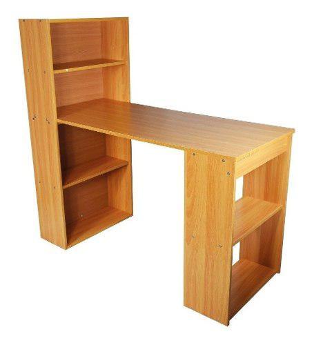 Escritorio de estudiante con biblioteca en madera oficina
