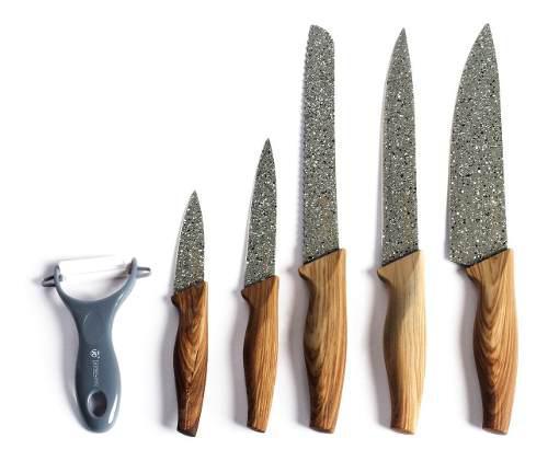 Juego cuchillos x6 piezas con pelador edición marble king