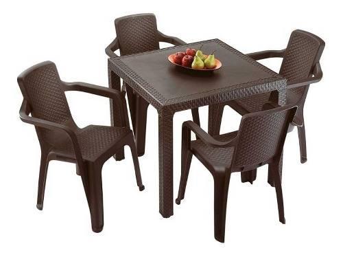Juego plástico de mesa rattan + 4 sillas eterna rimax