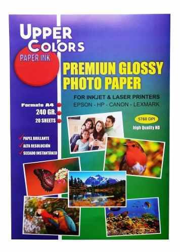 Papel fotográfico glossy brillante 240 gr x 20 hojas