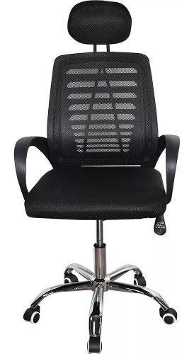 Silla negra malla con cabecero reclinable ergonómica