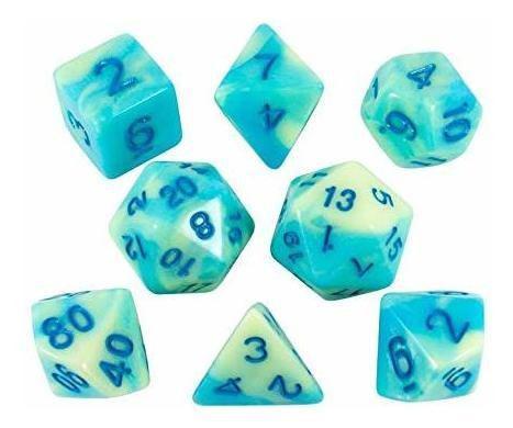 Paladin juego de rol dados azules y amarillos set de poliedr