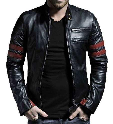 Chaqueta 100% cuero || wolverine tonalidad negro y rojo