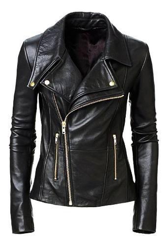 Chaqueta cuero mujer estilo chamarra black biker gold kl