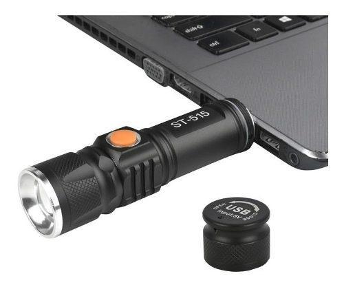 Mini linterna led recargable usb bolsillo, 3pcs zoom camping