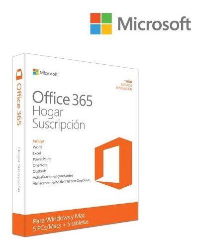 Microsoft office 365 hogar 6 equipos x 1 año