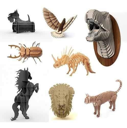 Pack 150 vectores de animales 3d para corte láser