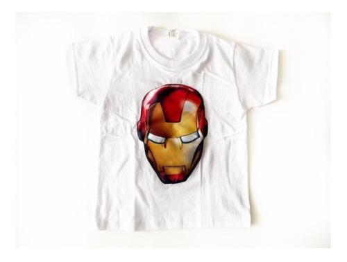 Camiseta con luces niño ojos luces súper héroes iron man