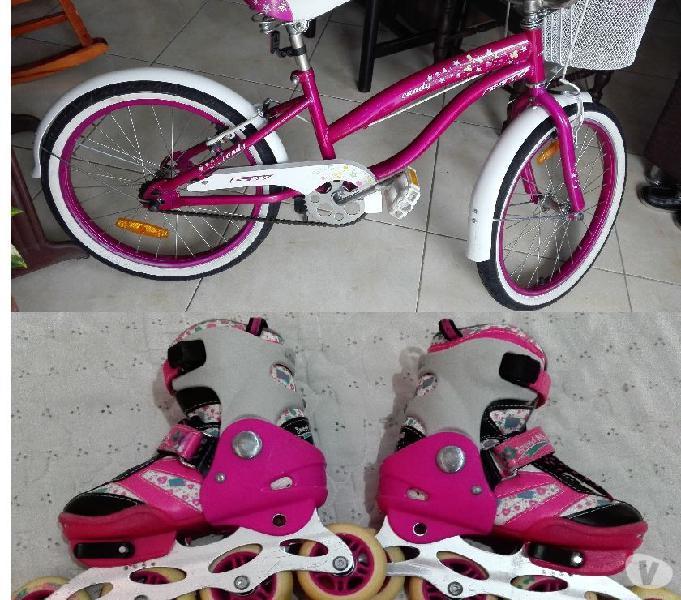 Bicicleta gw para niña y patines en linea semiprofesionales