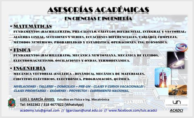 Clases y asesorías académicas de matemáticas, física e