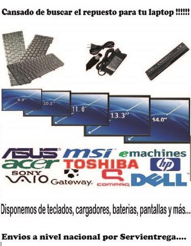 Baterías Pilas, Teclados, Cargadores,Pantallas para laptop