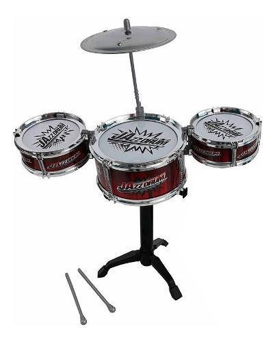 Bateria musical infantil didactica 3 tambores + platillos