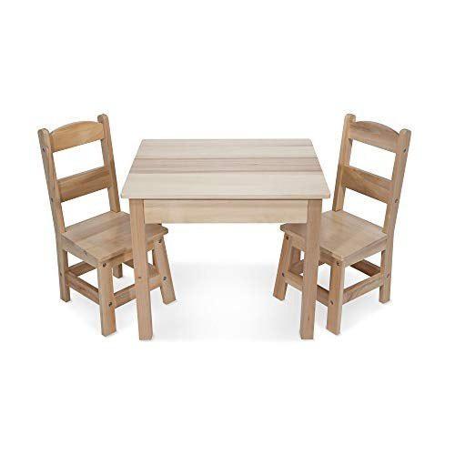 Melissa - doug - mesa de madera maciza y 2 sillas - muebles