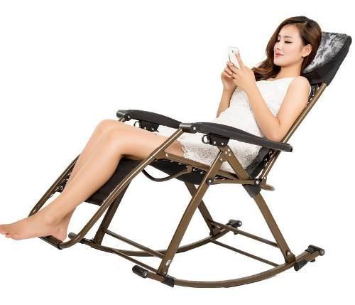 Silla cama reclinable plegable y mecedora antigraveda 2 en 1