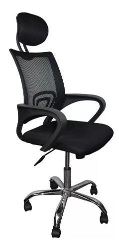 Silla ejecutiva ergonómica y giratoria malla negra oficina