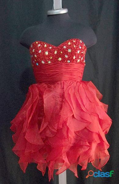 Alquiler de vestido corto para quince años ref1860 rojo $60.000 talla m