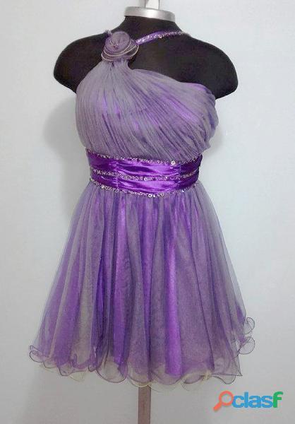 Alquiler vestido quince años may queen couture ref:0063 morado $60.000 talla m