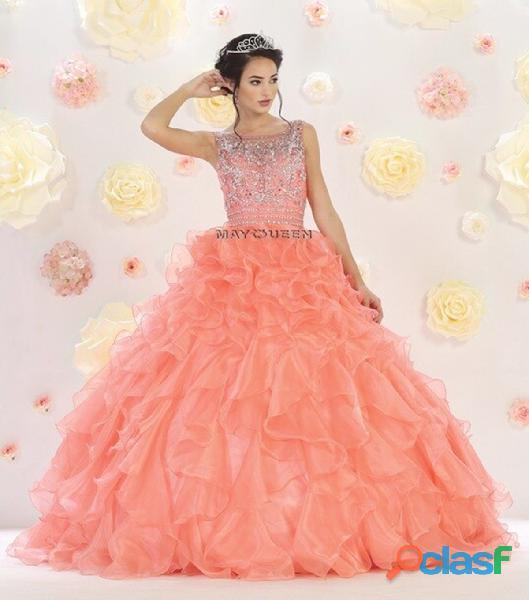 May queen couture alquiler vestido quince años color salmon $300.000