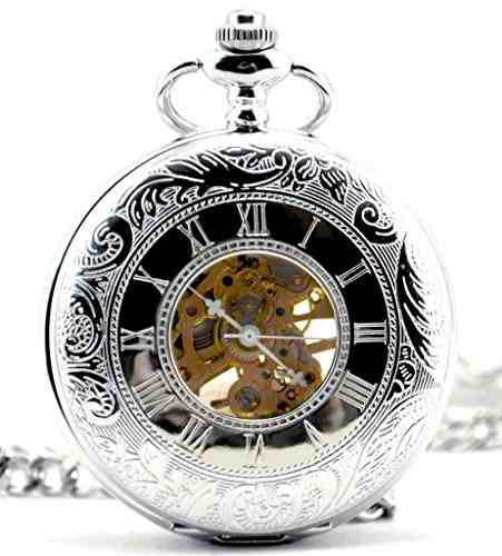 Infinite U Plata Reloj Dual Time Reloj De Bolsillo De Acero