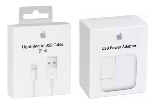 Cable original apple lightning 2m + cargador original 12w