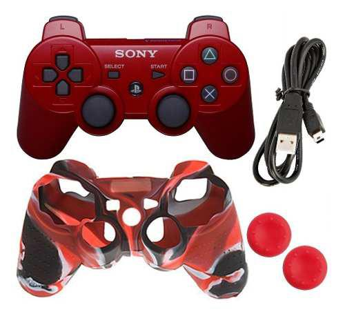 Control Dualshock + Forro + Grip + Cable Sony Ps3 Rojo