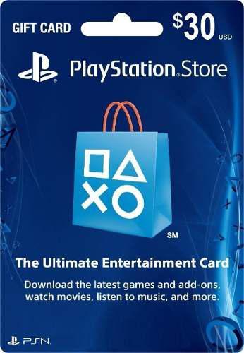 Gift card tarjeta psn 30 dólares ps3/ps4/ps vita