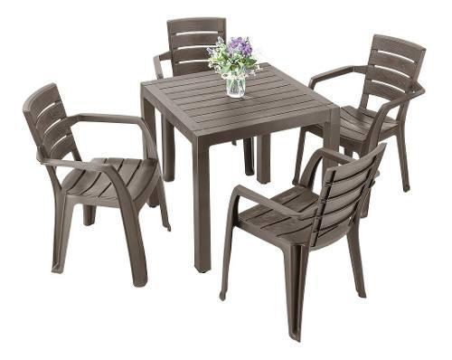 Juego plástico mesa baru + 4 sillas baru rimax tipo madera