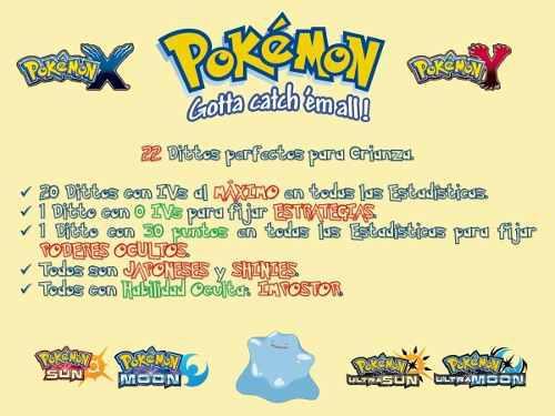 Pack 22 dittos shiny 6iv crianza pokémon competitivo