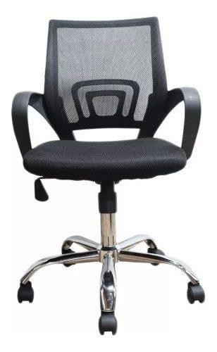 Silla oficina negra malla ergonomica giratoria para pc metal