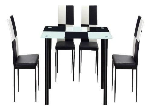 Comedor en vidrio 4 puestos color negro moderno