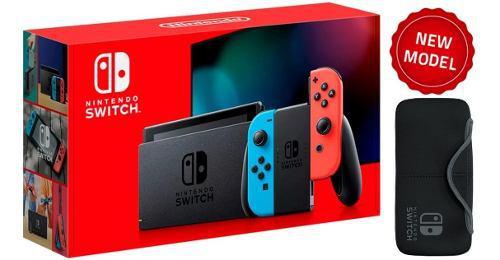 Nintendo switch neón blue and red + estuche. nueva y