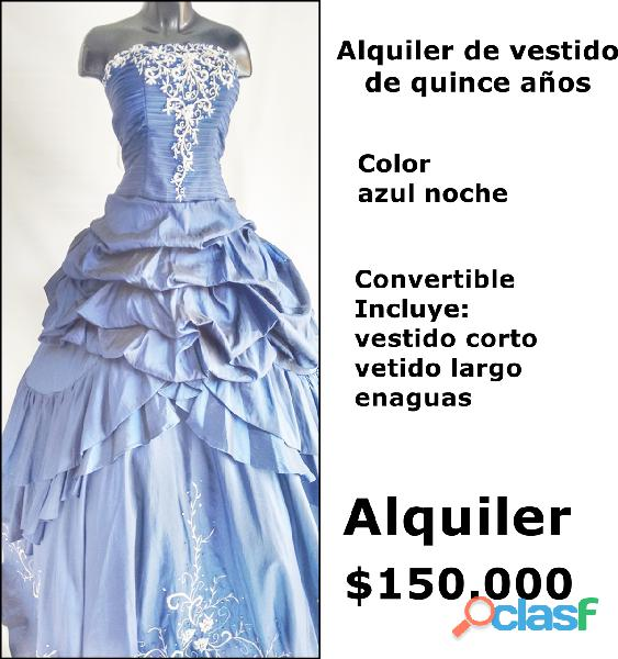 Alquiler de vestido azul noche para quince años * *