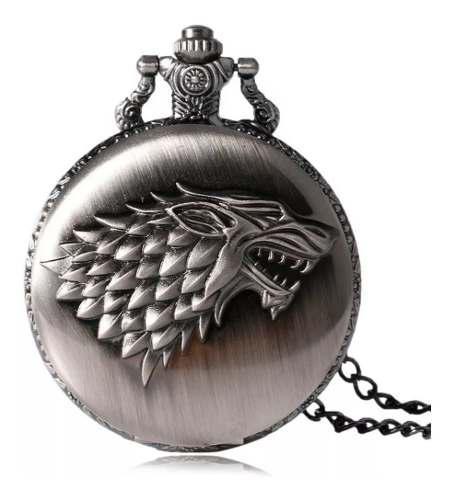 Reloj De Bolsillo Vintage Lobo Game Of Thrones Bronce