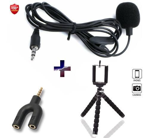 Micrófono solapa clip + splitter adaptador + tripode