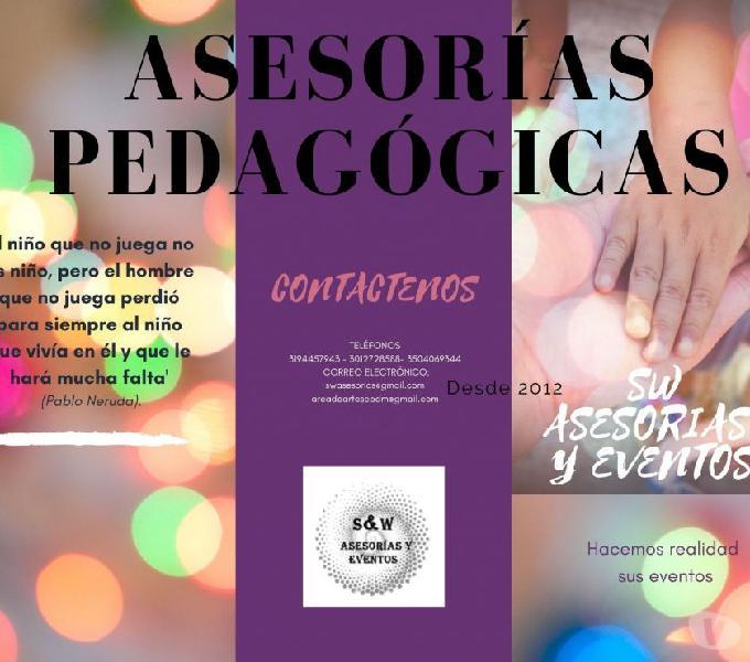 ASESORÍAS PEDAGÓGICAS- PROYECTOS EDUCATIVOS-TALLERES P.