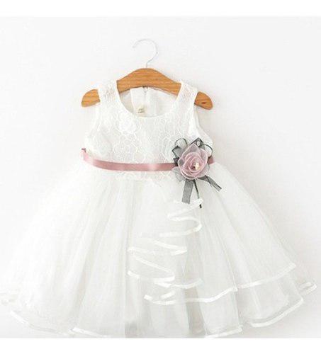 Vestido bautizo, pajesita niña blanco y rosado fiesta