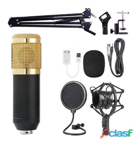 Microfono condensador con filtro brazo tijera promocion