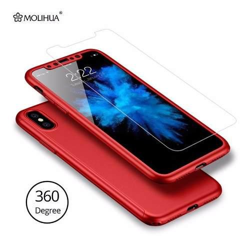 Forro estuche 360° iphone x / xs carcasa antishock vidrio