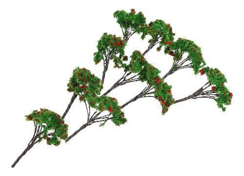Escala del oo del tren del modelo del árbol de la flor roja