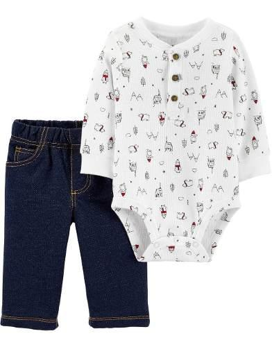 Conjunto carter's bebe niño mameluco manga larga y jeans.