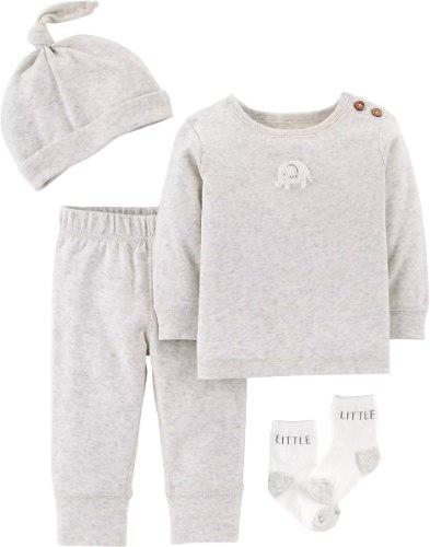 Conjunto crudo elefante línea neutral 4 piezas bebé