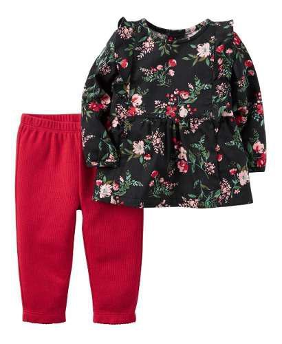 Conjunto Por 2 Piezas Carters Para Niña Flores Rojo