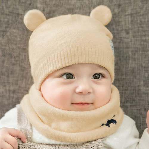 Gorro bufanda para bebé niño diseño de oso talla 6 a 18