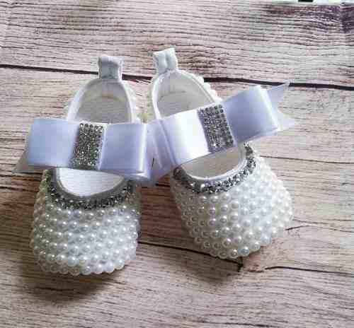 Zapatos Bebe Niña Blanco Bautizo Perlas Blancos