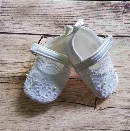 Zapatos Bebe Niña Blanco Bautizo Zb