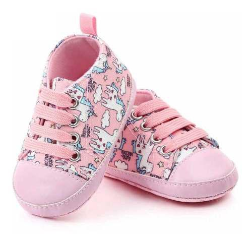 Zapatos bebe niña rosado blanco unicornio antideslizante