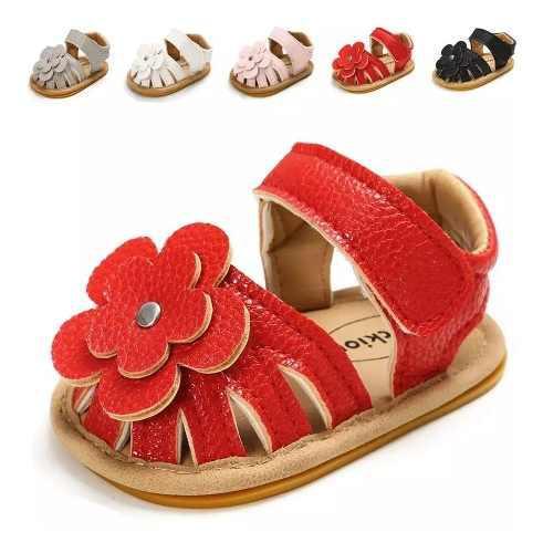 Zapatos Sandalias Bebe Niña Clanchas Elegantes Flor Suela