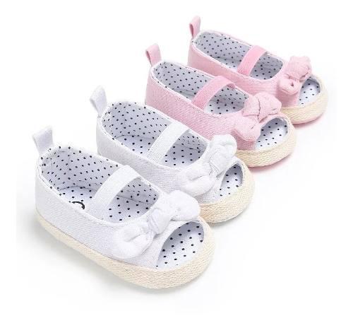 Zapatos sandalias bebe niña clanchas elegantes moño