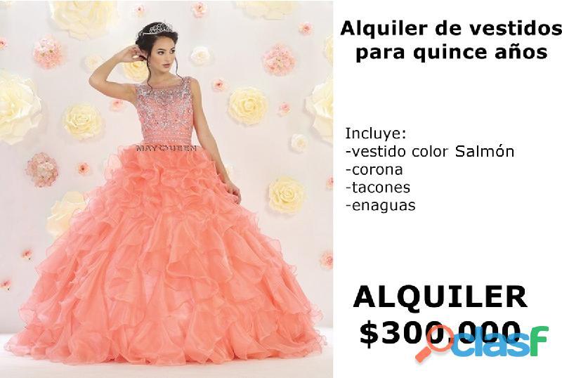 Alquiler de vestidos color salmón para quinceañeras