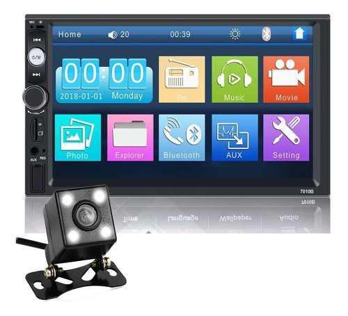 Radio Pantalla 7 Táctil 2 Din Bluetooth Usb Mp5 + Cámara